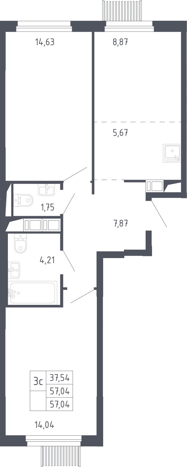 3Е-к.кв, 57.04 м², 2 этаж