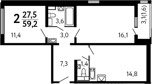 2-комнатная, 59.2 м²– 2