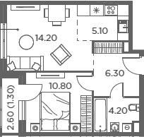 2Е-к.кв, 41.9 м²