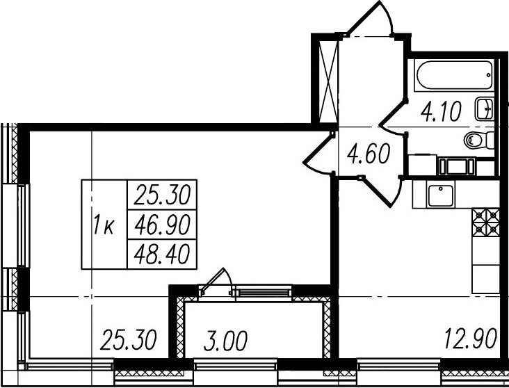 2Е-к.кв, 46.9 м², 4 этаж