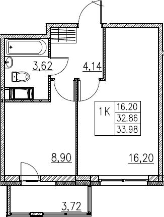 1-комнатная, 33.98 м²– 2