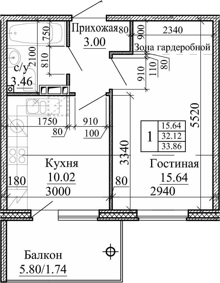 1-к.кв, 33.86 м², 3 этаж