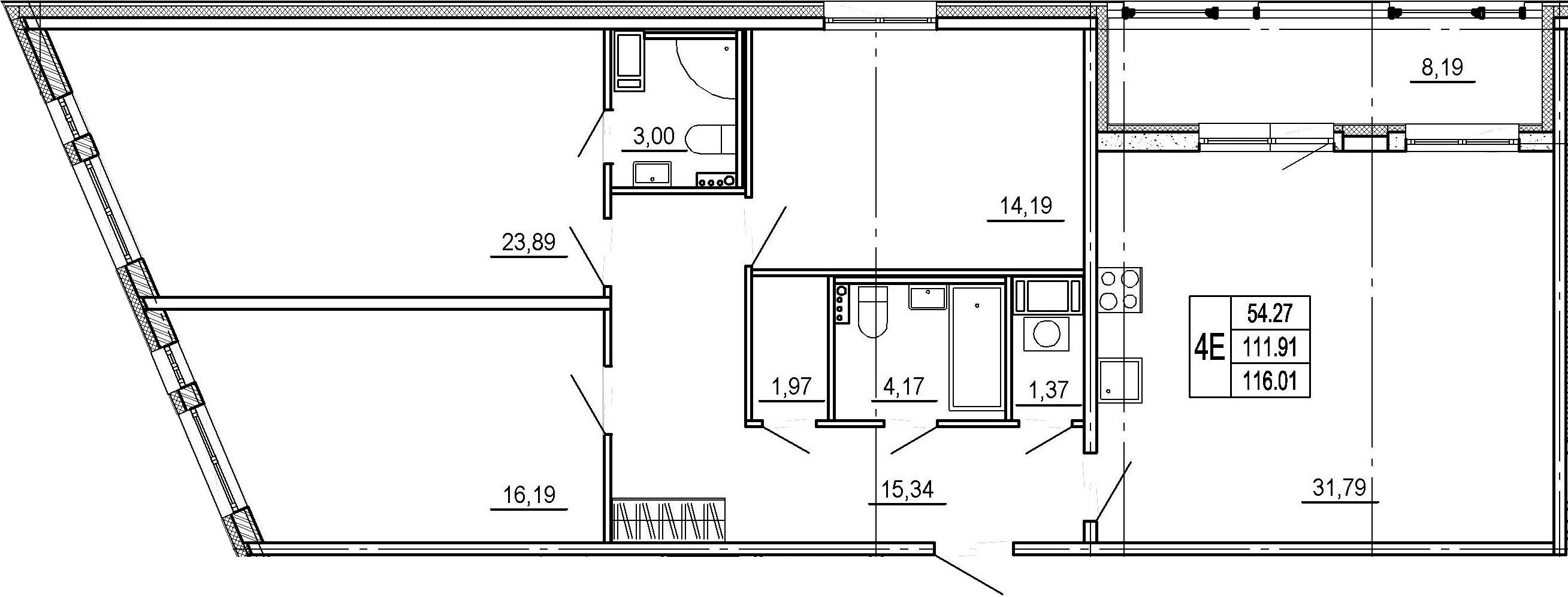 4Е-к.кв, 111.91 м², 8 этаж