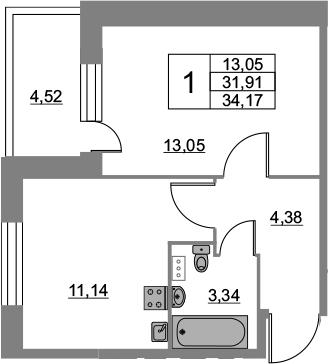 1-к.кв, 34.17 м², 2 этаж