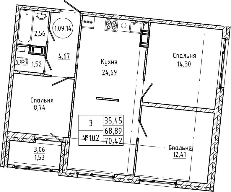 4Е-к.кв, 70.42 м², 9 этаж