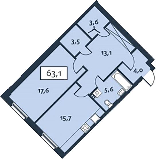 1-к.кв, 63.13 м²
