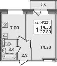 1-к.кв, 30.3 м²