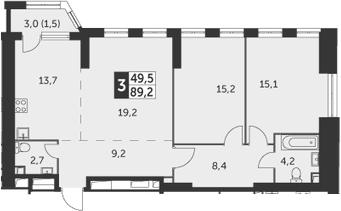 3-к.кв, 89.2 м²