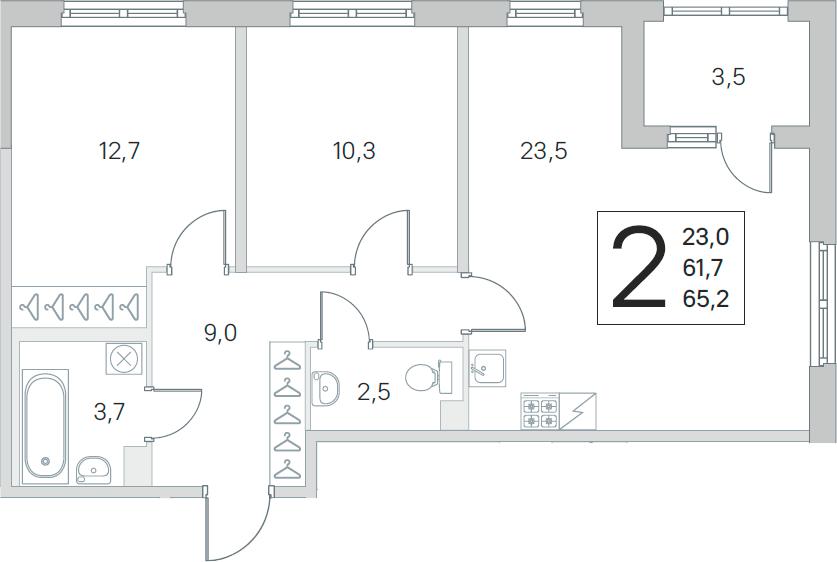 3Е-комнатная, 61.7 м²– 2