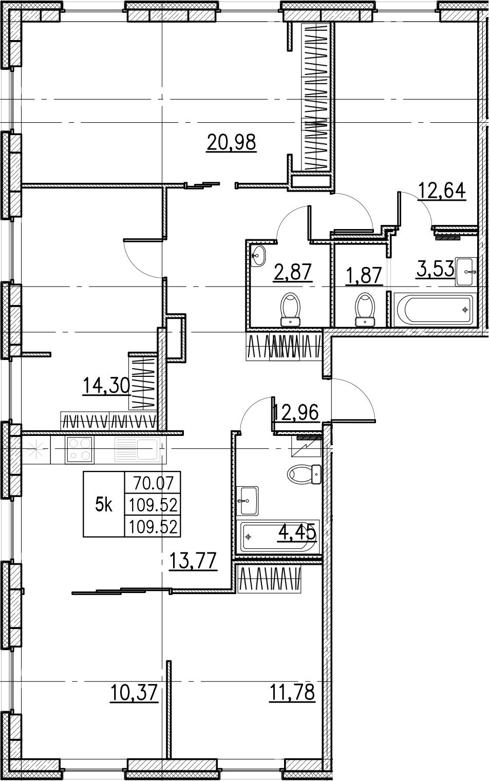 5-комнатная, 109.52 м²– 2