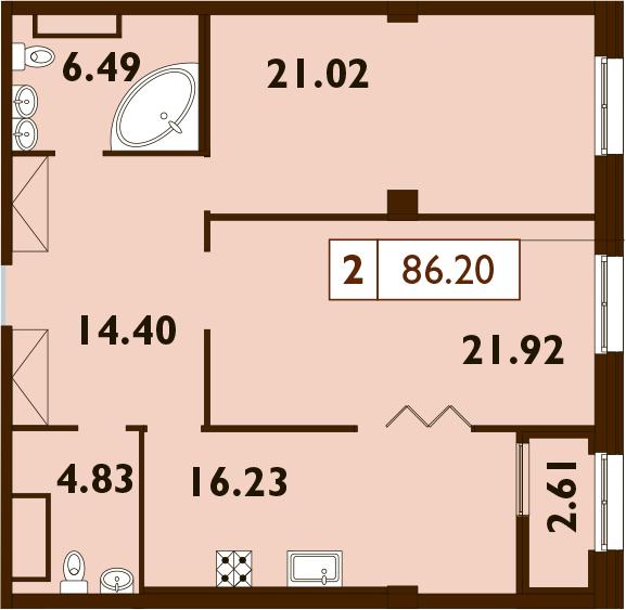 3Е-комнатная, 86.2 м²– 2