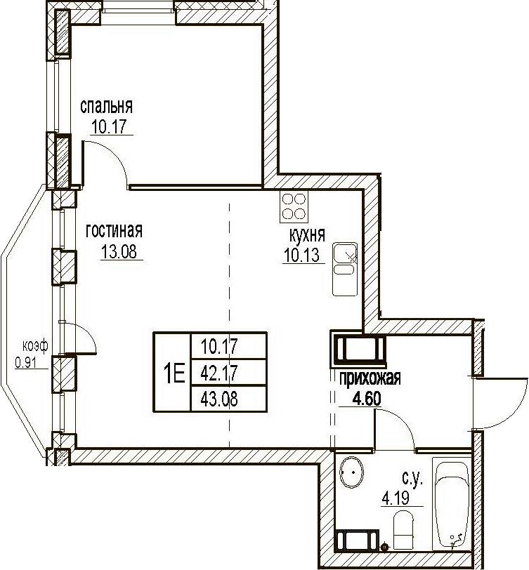 2Е-комнатная, 43.08 м²– 2