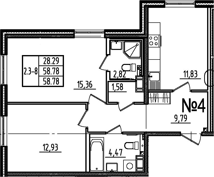 2-комнатная квартира, 58.78 м², 1 этаж – Планировка