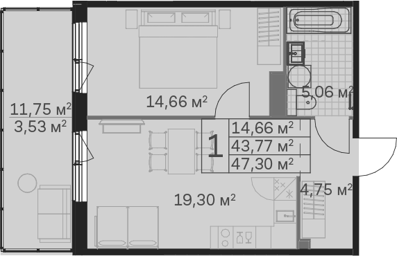 2Е-к.кв, 47.3 м²