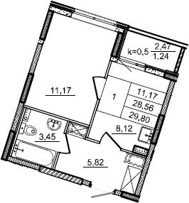 1-к.кв, 29.8 м², 2 этаж