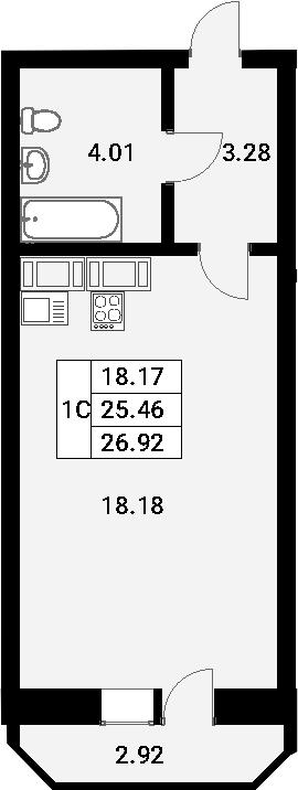 Студия, 26.92 м²– 2