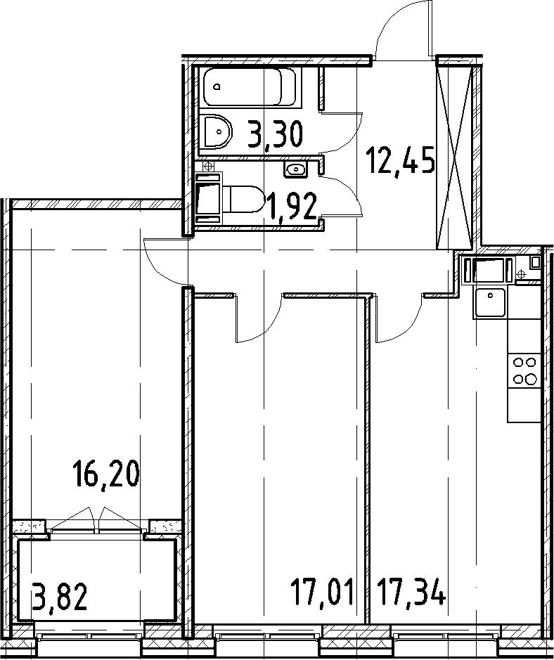 3Е-комнатная, 68.22 м²– 2
