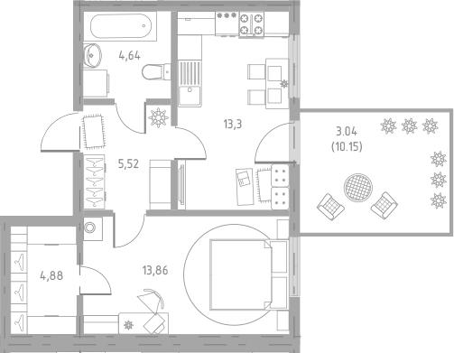 1-к.кв, 52.33 м²