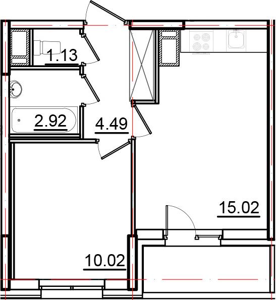 2Е-к.кв, 35.57 м², 10 этаж