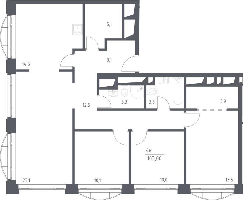 4-к.кв, 103 м²