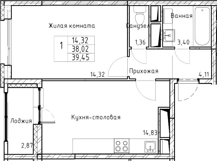 1-комнатная, 39.45 м²– 2