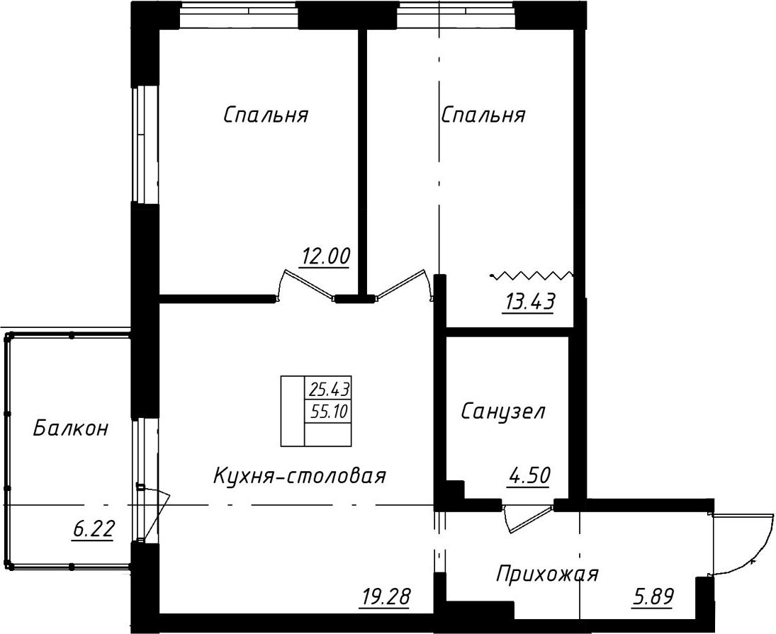 3-к.кв (евро), 61.32 м²