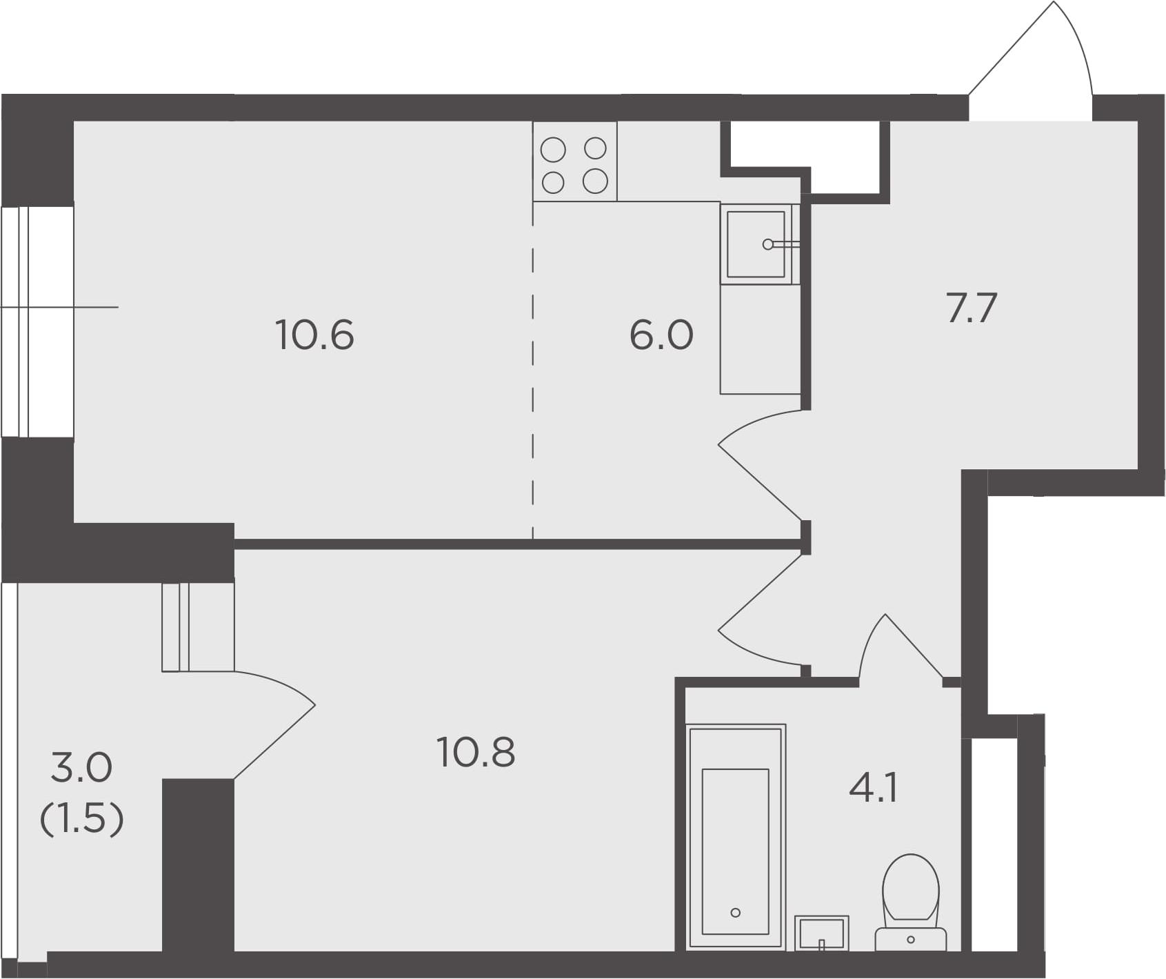 2Е-комнатная квартира, 40.7 м², 12 этаж – Планировка