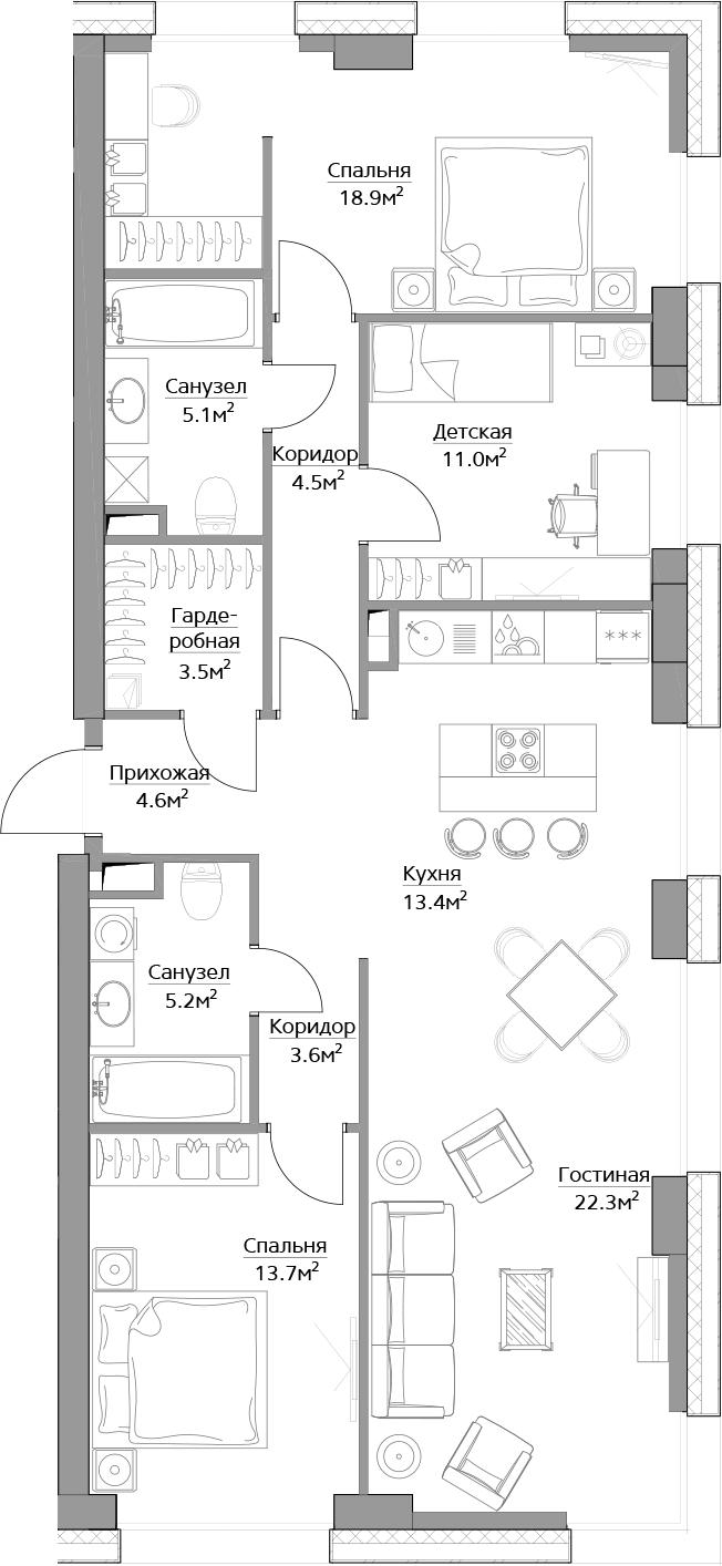 4-к.кв, 105.8 м²