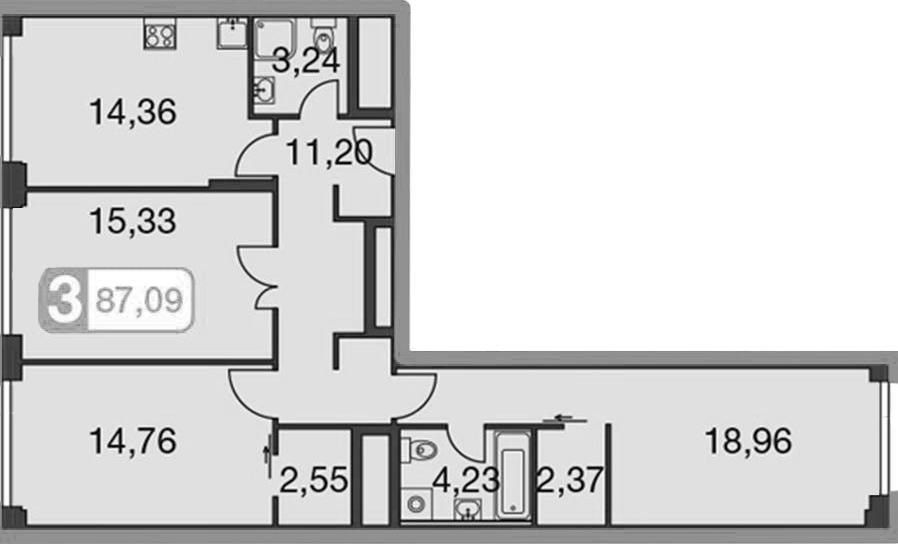 3-к.кв, 98.32 м²