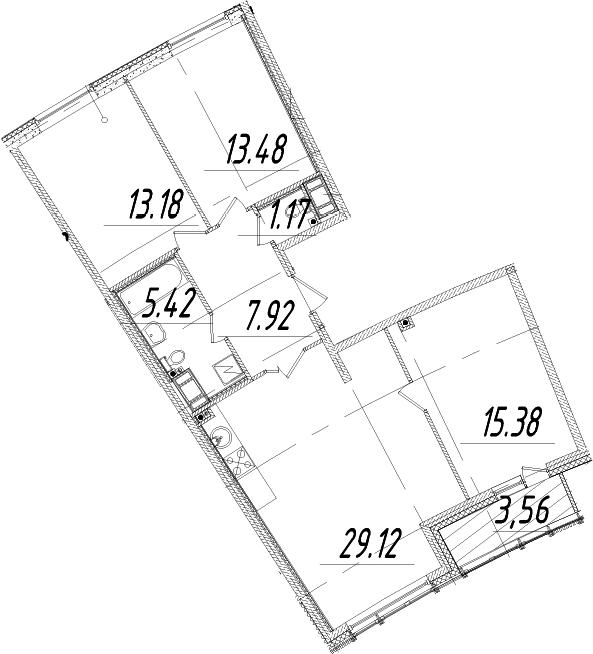 4Е-к.кв, 87.45 м², 14 этаж