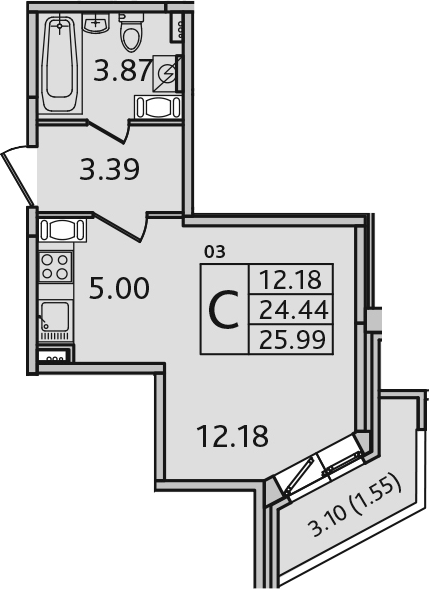 Студия, 25.99 м²– 2