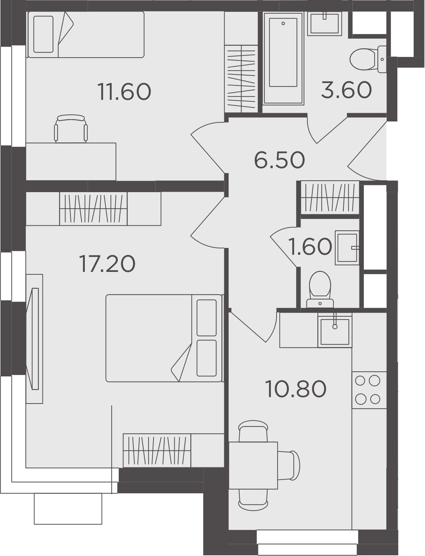 2-к.кв, 51.3 м²