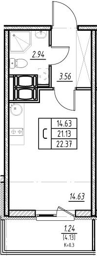 Студия, 21.13 м², 20 этаж