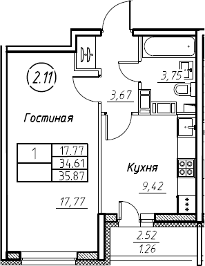 1-к.кв, 35.87 м², от 19 этажа
