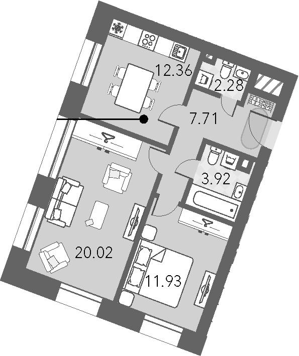 2-к.кв, 58.22 м²