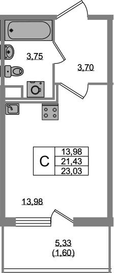 Студия, 21.43 м²