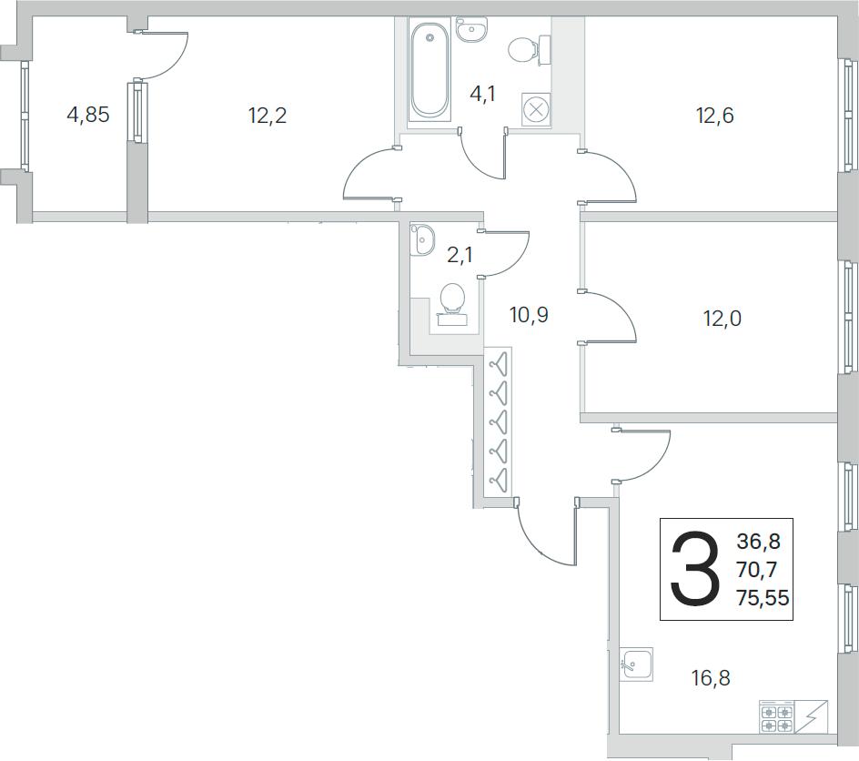 4Е-к.кв, 70.7 м², 4 этаж
