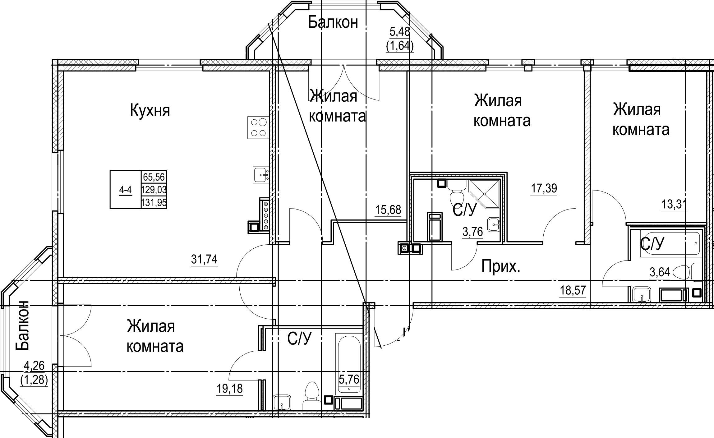 5Е-к.кв, 131.95 м²