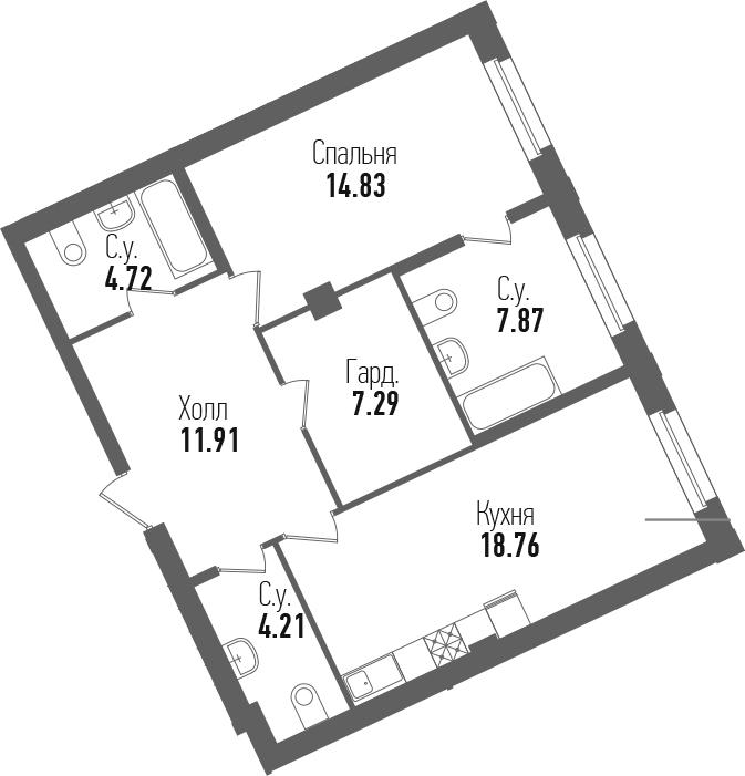 2-к.кв (евро), 69.59 м²