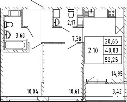 3Е-комнатная, 52.25 м²– 2