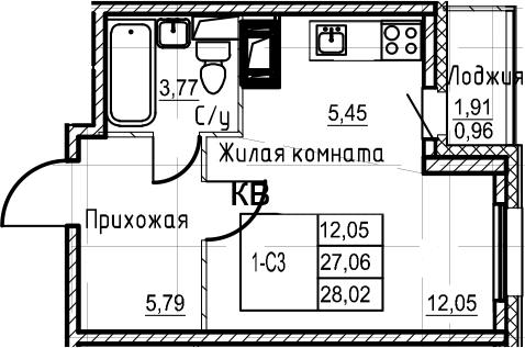 Студия, 28.02 м², 11 этаж
