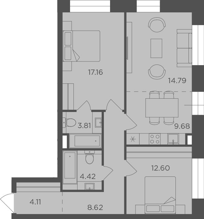 3Е-к.кв, 75.19 м², 15 этаж