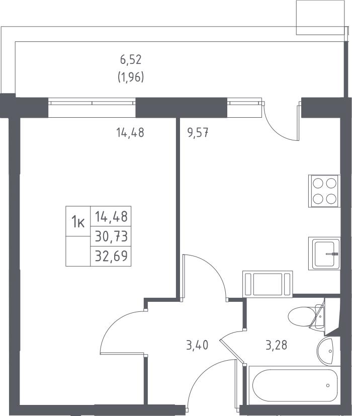 1-к.кв, 32.69 м², 3 этаж