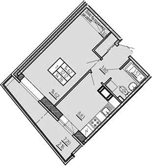 1-комнатная, 34.28 м²– 2