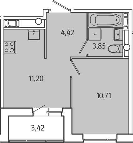 1-к.кв, 31.89 м², 4 этаж