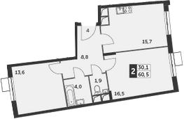 3Е-к.кв, 60.5 м², 10 этаж