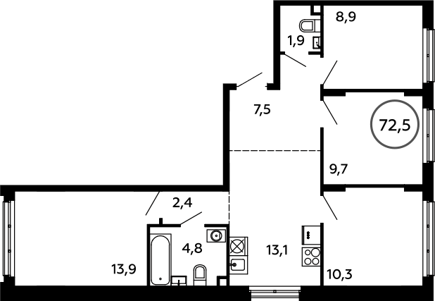 4-к.кв, 72.5 м²