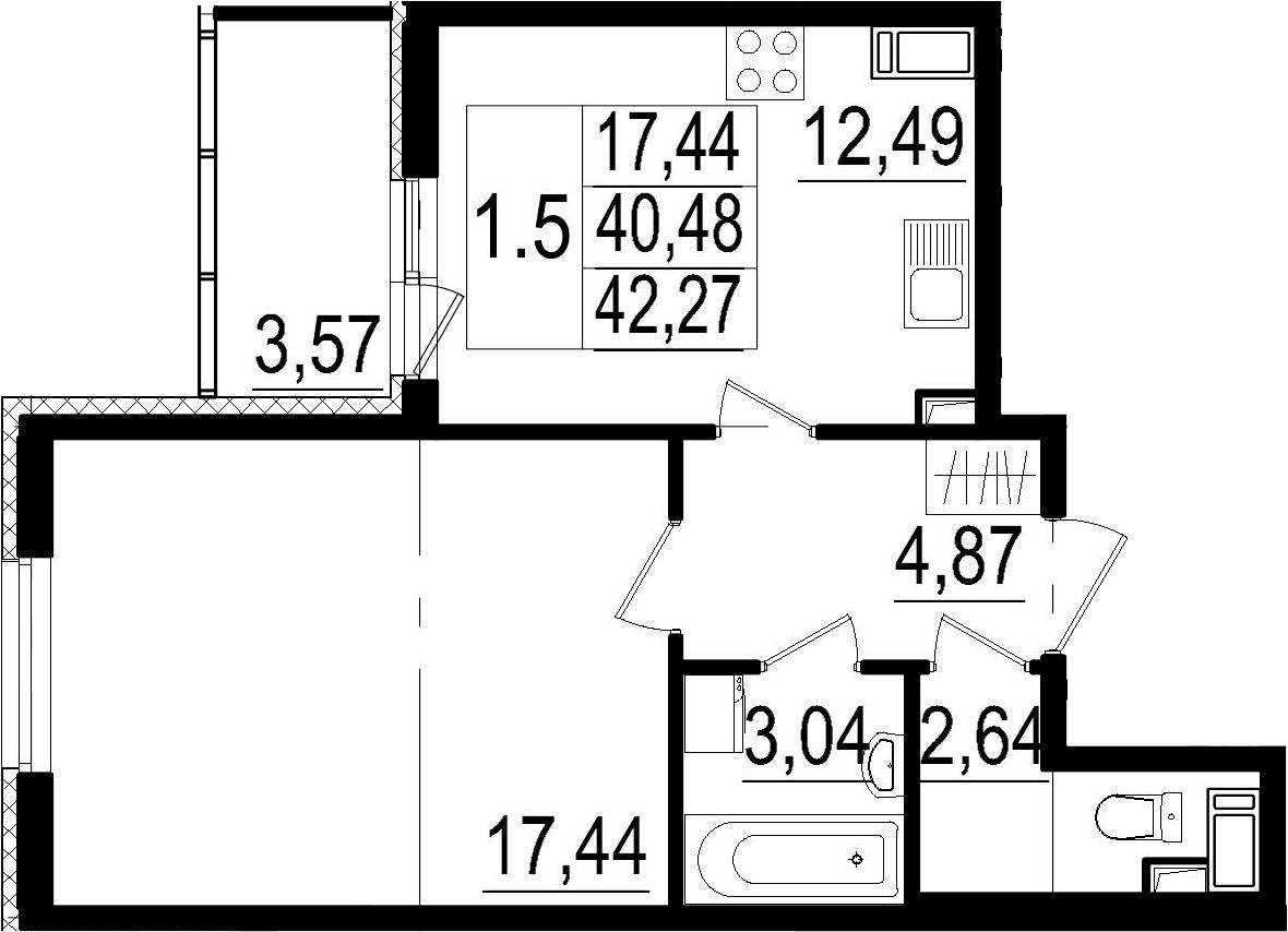 1-комнатная, 40.48 м²– 2