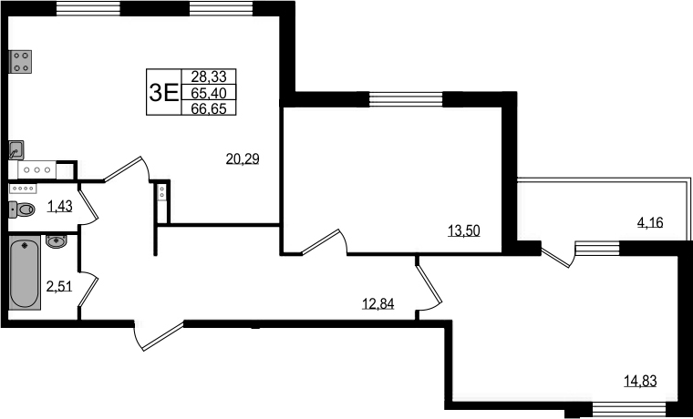 3-к.кв (евро), 69.56 м²
