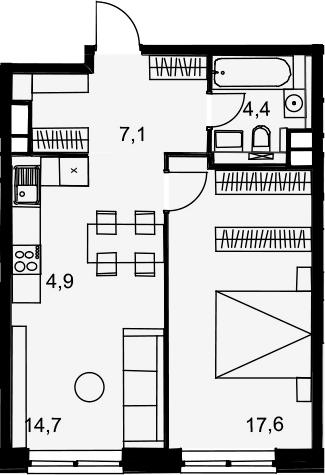 2Е-комнатная, 48.7 м²– 2